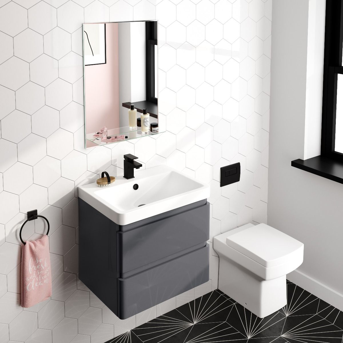 Ava Bevelled Edge Bathroom Mirror With Glass Shelf 700x500mm Bathroom Mountain